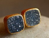 WINTER SALE Gold Black Druzy Studs - Dark Charcoal Grey - Cushion Cut, Dark Glamour, AAA Quality