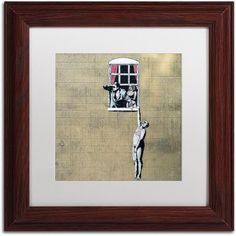 Trademark Fine Art Scandal Canvas Art by Banksy, White Matte, Wood Frame, Size: 11 x 11, Multicolor