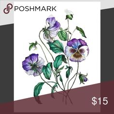 Art Print Wall Decor Poster Purple Green Violets Beautiful botanical illustration art print directly from artist. Stylish wall decor to add charm and style to your room. High quality print of the watercolor and ink original. Thick premium acid-free archival card stock paper. 8x10 inches. Unframed. Signed by the artist. The price is based on the cost of the materials and printing. I only do a limited number of copies. $15 is not that much for a truly unique piece, isn't it? 🙂 (Not Anthro…