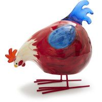 Matches very cool dishes with red and blue hens.  Love it.