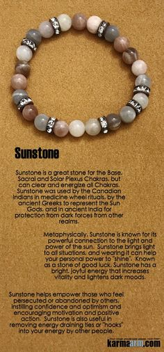 "Sunstone brings light to all situations, and wearing it can help your personal power to ""shine"".  Known as a stone of good luck, Sunstone has a bright, joyful energy that increases vitality and lightens dark moods.   •••••••••••••••••••••••••••••••••••••••••••••••••••••••••••••••••      Yoga Chakra Reiki Beaded Stretch Bracelets. Sunstone  Swarovski."