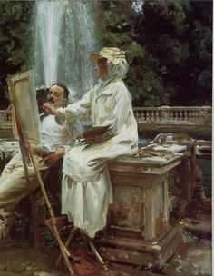 """The Fountain, Villa Torlonia, Frascati, Italy (1907).John Singer Sargent (American, 1856-1925) . Oil on canvas.Art Institute of Chicago.  Jane de Glehn (1873-1961) painting with her husband Wilfrid (1870-1951).  Jane wrote; """"He [Sargent] has struck Wilfred in looking at my sketch with rather a contemptuous expression as much as to say 'Can you do plain sewing any better?'………Wilfred is in shirt sleeves, very idle and good for nothing and our heads come agains"""