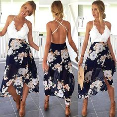 Backless Floral Print Beach Dress