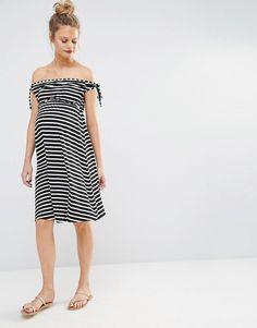 Bluebelle Maternity Stripe Bardot Skater Dress 101ca7878