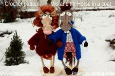 """Project by novogodka.""""Mr and Mrs horse"""" crochet pattern designed by Astashova for LittleOwlsHut was used to make this toy. Pattern is for an experienced crocheters. Coat is KNITTed not crochet. Toy has a wire frame inside but can't stand on its own. Look at our other horse projects pins for Ideas how to decorate you lovely toy. #LittleOwlsHut, #Amigurumi, #Astashova, #CrochetPattern, #Horse, #DIY, #Pattern, #Toy"""