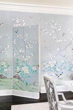 botanical mural wallpaper covers a hidden door Hidden Closet, Hidden Rooms, Bookcase Door, Built In Bookcase, Wallpaper Door, Flush Doors, Pink Bedrooms, Dutch Door, Secret Rooms