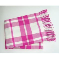 A Soft Idea Windowpane Plaid Fringed Throw Color: Fuchsia