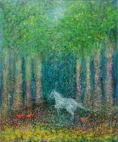 「光の森」 キャンバス 油彩