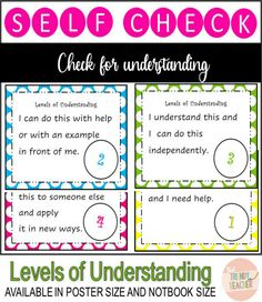 Display these posters in your room to do a quick-check on your students' level of understanding. Use the notebook size poster for students to keep to self-assess. It's a quick and easy way for you to visually see student progress and understanding by using their fingers to represent their level of understanding.  Poster size perfect for bulletin board or wall display Notebook/Card size perfect for students to keep. Available in color and black&white Polka Dot Theme! Polka Dot Theme, Polka Dots, Levels Of Understanding, I Need Help, Bulletin Board, Card Sizes, Teacher Pay Teachers, Assessment, Fingers