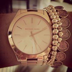 Rose gold Michael Kors watch paired with simple bracelets!~
