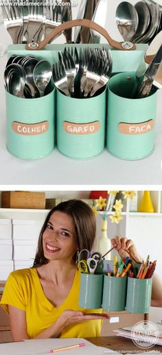 DIY Tin Can Utensil Holder.