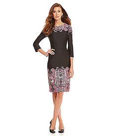 Alex Marie Sonya Placement PaisleyPrint Scuba Sheath Dress #Dillards