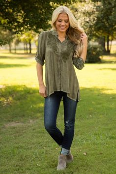 a079c4432ad Giddy Up Top - Dark Olive Hemline