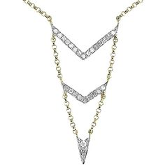 Pre-owned 14k Yellow Gold Ladies Pave Diamond Chevron 18 Chevron... ($350) ❤ liked on Polyvore featuring jewelry, necklaces, accessories, none, 14k yellow gold necklace, gold chain necklace, gold necklace pendant, layered necklace and long gold necklace