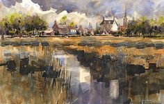 The Public House- England by Iain Stewart Watercolor ~  x