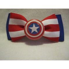 Captain America Hair Bow ($4) ❤ liked on Polyvore