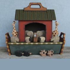 Noah's Ark Collectible - Handmade Red Wooden Children's Ark & Animals