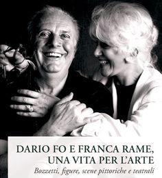 Dario Fo con Franca Rame, moglie, attrice e amministratrice della compagnia teatrale, femminista, senatrice. Colpita da ictus, morí nel 2013