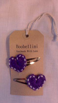 Packaging - Purple Heart crochet hair clips