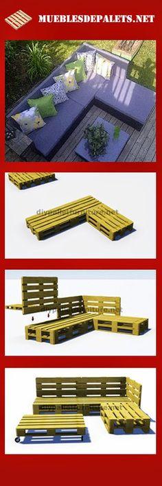 Muebles de palets: Instrucciones y planos en 3D de como hacer un sofá para el jardín con palets