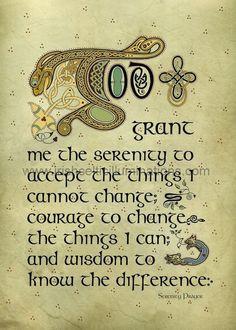 Celtic Manuscript Text : The Serenity Prayer ★ Celtic Art by Jeff Fitzpatrick Adams