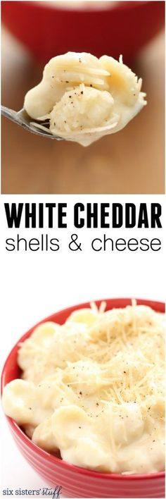 White Cheddar Shells and Cheese The best made from scratch mac and cheese your family will love! It is easy, cheesy and only takes 30 minutes! I Love Food, Good Food, Yummy Food, Tasty, Pasta Dishes, Food Dishes, Side Dishes, Main Dishes, Cheese Stuffed Shells