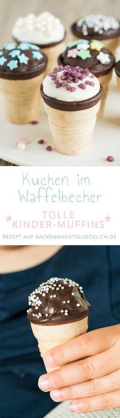 Diese kleinen Waffelbecherkuchen sind perfekt für Kinder! Kinder können toll beim Backen der kleinen Kuchen helfen. Und zum Essen sind die kleinen Waffelmuffins ideal für Kinderhände.