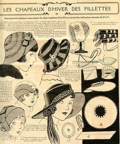 Winter hats for little girls 1931 Vintage Sewing Patterns, Clothing Patterns, 1920s Hats, Flappers 1920s, Journal Vintage, Vintage Accessoires, Costume Carnaval, Hat Tutorial, Retro Mode