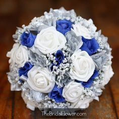 Royal blue and silver silk wedding bridal bouquet | Royal blue ...