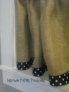 DIY Burlap Curtains with Ribbon Edging TUTORIAL