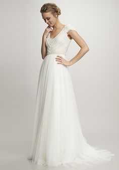 Cap sleeve V-neck pearl beaded scallop bodice with Spanish tulle skirt