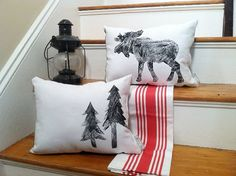 Pine Tree Pillow  Canvas  Flannel by Seagate8Studio on Etsy
