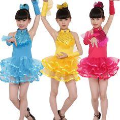 Hiệu suất Cô Gái Rìa Vũ Điệu Latin Ăn Mặc Trẻ Em Cạnh Tranh Khiêu Vũ Salsa Phòng Khiêu Latin Tango Dresses Samba Trang Phục cho Trẻ Em LD239(China (Mainland))