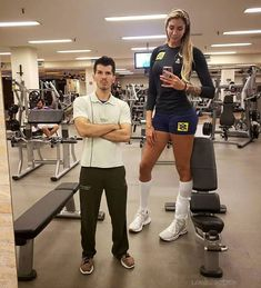 Tall Woman with tiny trainer 2 by lowerrider on DeviantArt Tall Girl Short Guy, Tall Guys, Giant People, Tall People, Volleyball Workouts, Volleyball Players, Tall Women Fashion, Womens Fashion, 80s Fashion