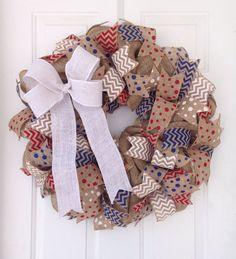 Patriotic wreath, burlap wreath, America decor, America wreath, July wreath, USA Wreath, USA Decorations, 4th of July Wreath, Rustic decor