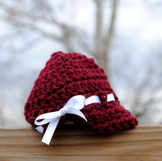 Infant Newsboy Girl Maroon and White