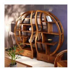 Wide Bookcase, Etagere Bookcase, Bookcase Storage, Wooden Shelf Design, Wooden Shelves, Asian Furniture, Wood Furniture, Circle Wall Shelf, Library Bookshelves