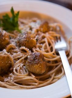 Turkey Meatballs in Broth Over Whole Wheat Pasta