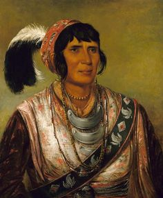 Os-ce-o-lá, The Black Drink, a Warrior of Great Distinction by George Catlin / American Art (Ostrich Feather)