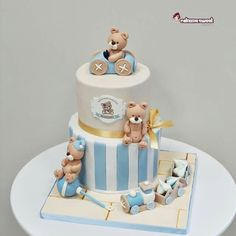 Max christening cake by Naike Lanza Boys First Birthday Cake, Baby Birthday Cakes, Baby Boy Cakes, Gateau Baby Shower, Baby Shower Cakes, Hairdresser Cake, Lolly Cake, Teddy Bear Cakes, Amazing Wedding Cakes
