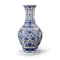 Summer 6-Sided Baluster Vase, Blue & White - Bungalow 5