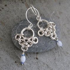 Sterling Chainmaille Earrings  Eleni by ErganeStudio on | http://ringslera.blogspot.com