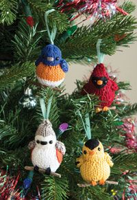 Four Calling Birds Digital Knitting Pattern from Love of Knitting's Holiday Knits 2014   French Hens and Turtle Doves have nothing on these happy little warblers! Four songbirds are eager to sing their favorite carols for you! For an extra bit of holiday flair, try perching these adorable ornaments or gift toppers on a sprig of holly or a faux evergreen branch.