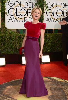 Julia Bowen's red and purple dress at the Golden Globes 2014.