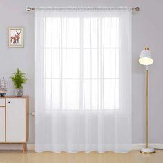 Deconovo Sheer Curtains - CountryCurtains Patio Door Curtains, White Curtains, Patio Doors, Drapes Curtains, Big Windows, White Paneling, Sliding Glass Door, Soft Furnishings, Curtain Rods