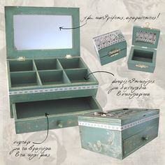 green jewles box, and ring box, decoupaged stoeage box,