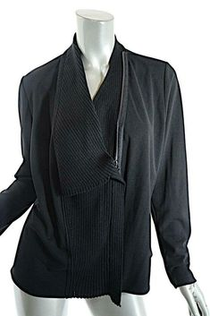 85a261c3fa83 CREA Concept Black Poly Jersey Wool Blend Rib Knit 2 Way Zip Jacket NWT Sz  42