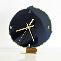 JUMBO Navy Blue Agate Slice with Gold/Brass Hardware