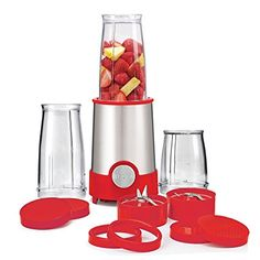 Amazon.com: BELLA Personal Size Rocket Blender, 12 piece set, color stainless steel and red: Electric Personal Size Blenders: Kitchen & Dining