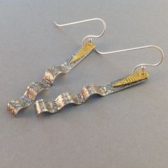 Silver and Gold Ribbon Candy Earrings by LindaMackSilver on Etsy